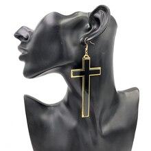 Punk Fashion Vintage Big Long Black Acrylic Cross Drop Earrings For Women Club Party Jewelry Accessories