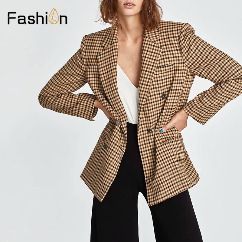 2019 Double Breasted Plaid Blazer Women Long Sleeve Slim OL Coats Women Blazers And Jackets Casual Autumn Jacket Blazer Female