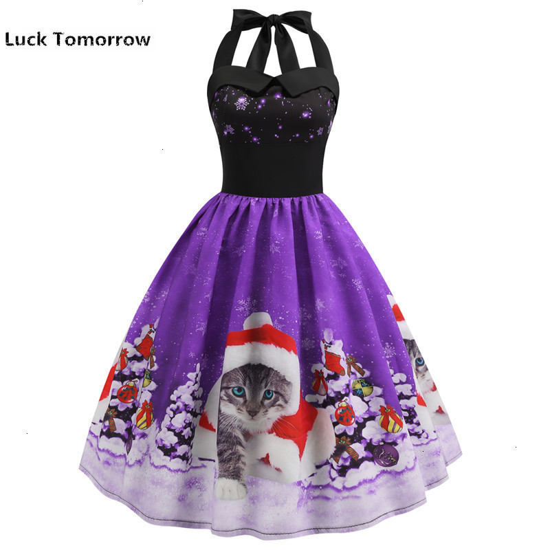 Dress 2019 Casual Christmas Cat Snowman Women's Robe 50s 60s Rockabilly Swing Pinup Vestido Patchwork Elegant Party Dress