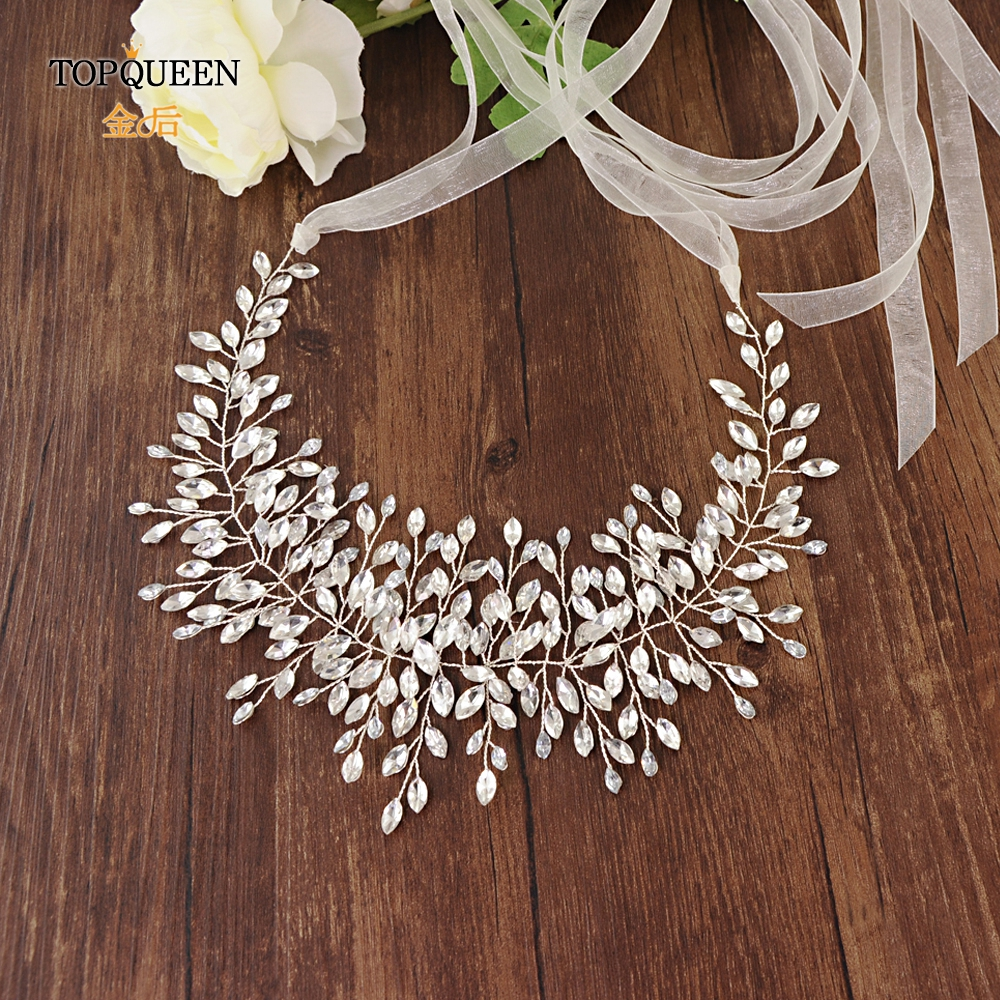 TOPQUEEN SH237 High Quanlity Bridal Belts Silver Diamond Belt Bridal Sashes Belt Luxury Rhinestone Belt Wedding Dress Sash Belt