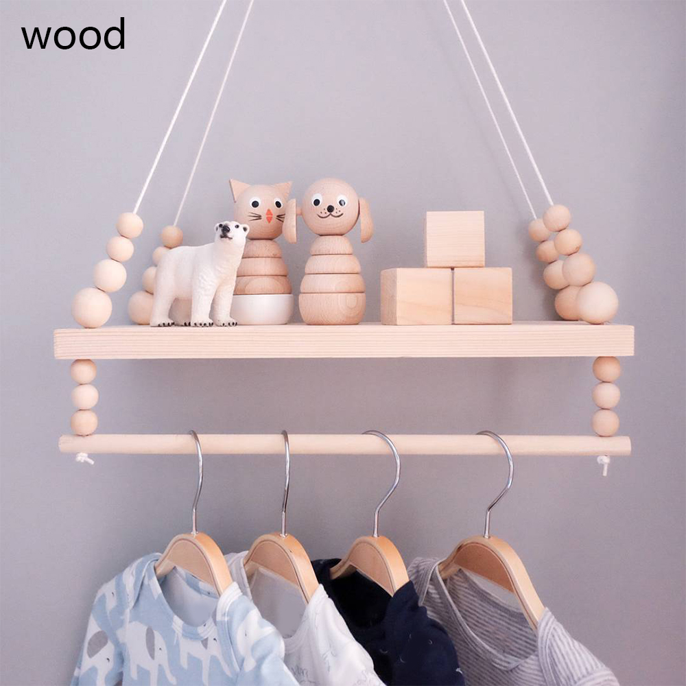 Nordic Wooden Wall Shelf With Clothes Rack Children Room Craft Storage Rack Rope Wall Hanging Kid Bedroom Living Room Decoration