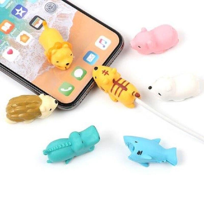 1 pçs animal cabo protetor para iphone protegido cabo amigos dos desenhos animados mordida cabo titular do telefone acessório