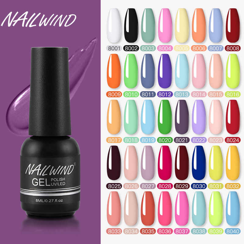 Nailwind Gel Cat Kuku Pernis Murni Warna Semi Permanen Base Top Perlu UV LED Lampu Manikur Cat Hybrid Kuku Gel bahasa Polandia