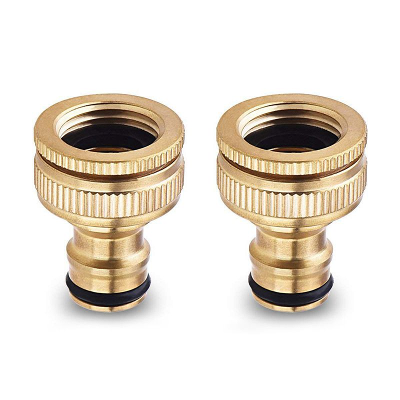 2 Pack Brass Garden Hose/Hosepipe Tap Connector 1/2 Inch And 3/4 Inch 2-in-1 Female Threaded Faucet Adapter