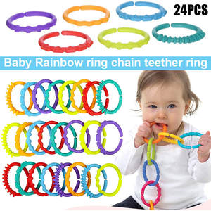 24pcs Children Kids Baby Teether Rainbow ABS Ring Links Infant Stroller Gym Play Mat Toys High Quality