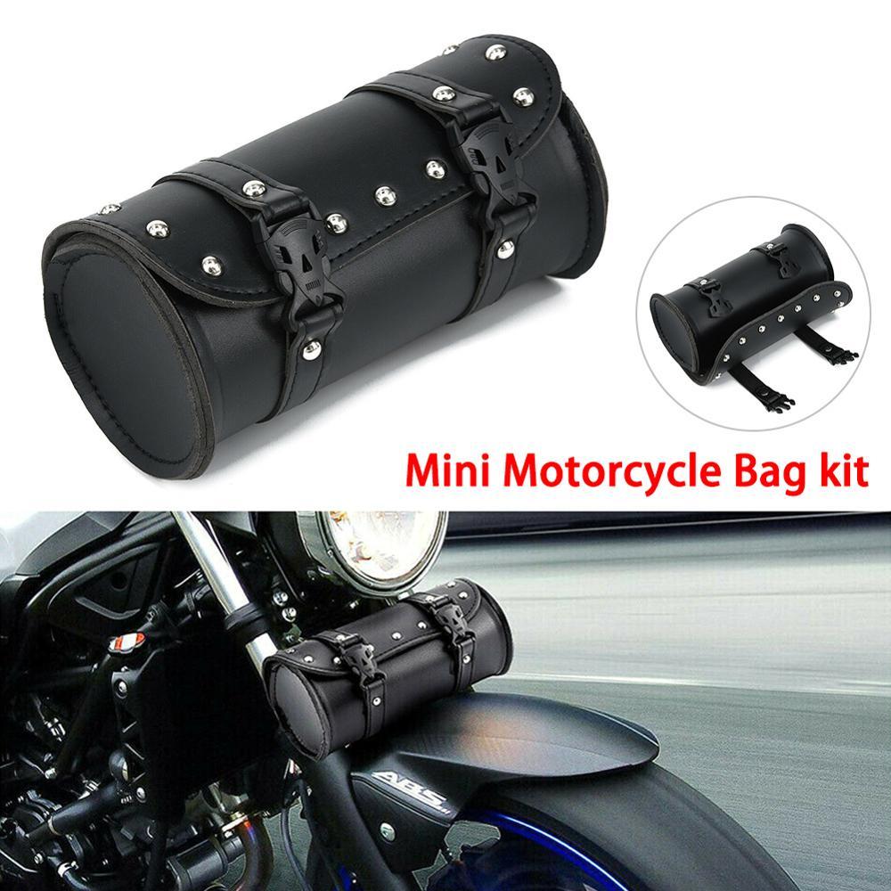Weilifang Borse in Pelle Moto Forcella Borsa Manubrio Strumento barile Strumento Roll Pouch Barrel Roll per Kawasaki
