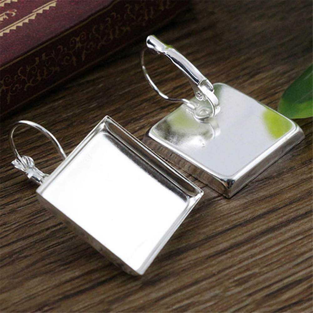 20mm 10pcs Bright Silver Plated Square Style French Lever Back Earrings Blank/Base,fit 20mm Square Glass Cabochons(L5-22)