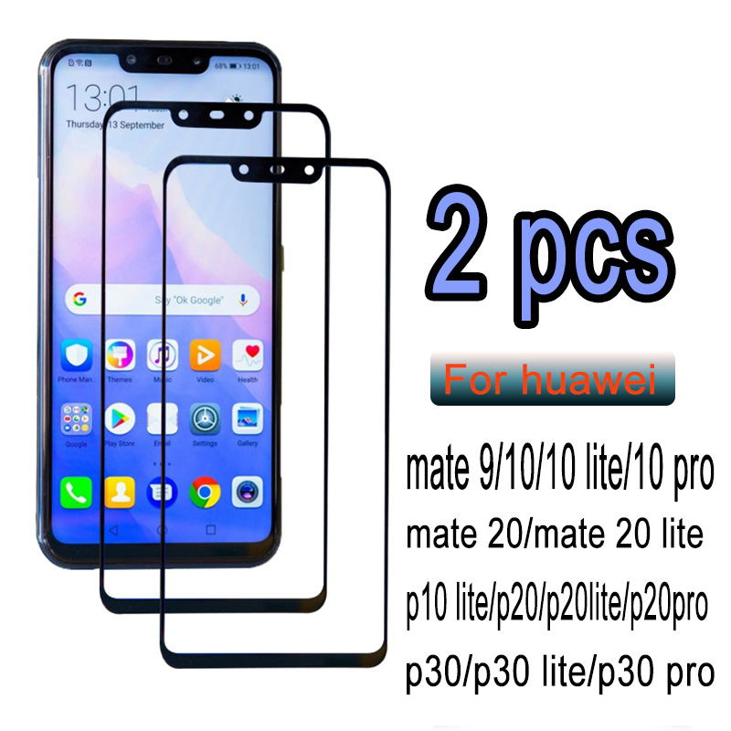 2PCS Protective Tempered Glass On The For Huawei P20 P30 P10 Lite Pro Screen Protector Film For Huawei Mate 10 20 Lite Pro Glass