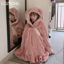 Winter Sweet Girl Cute Big Rabbit Ear Loose Bathrobe Women Fashion Warm Comfortable Midi Ro