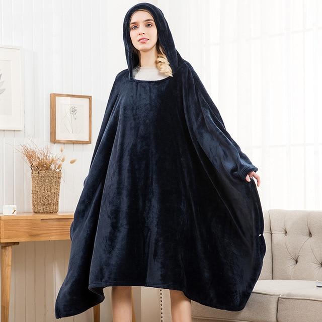 Winter Thick Sofa Comfy TV Blanket Hoodie Sweatshirt Weighted Throw Blanket Fuzzy Fleece Plaid Blanket Fleece Blanket Adult Kids 1