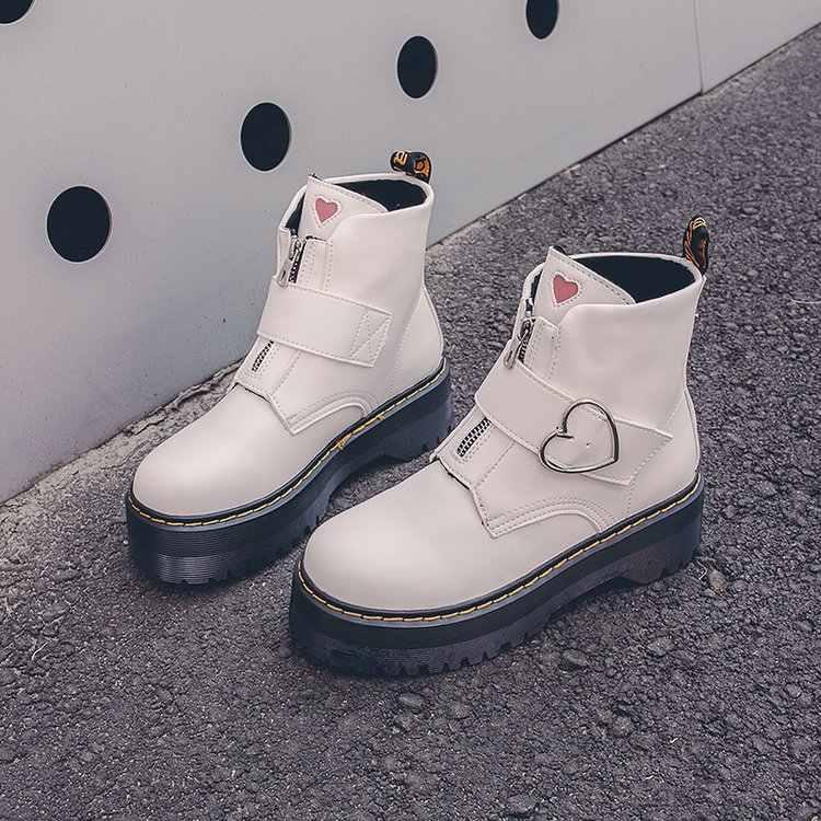 Aşk Botas kadın motosiklet ayak bileği kar botları takozlar kadın fermuar toka platformları sonbahar yumuşak deri Oxford ayakkabı Botas Mujer