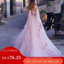 Robe De Mariage חתונה שמלת 2019 הלטר שרוולים ואגלי תחרת Applique שמלות הכלה Robe דה Mariee עם אשליה חזרה
