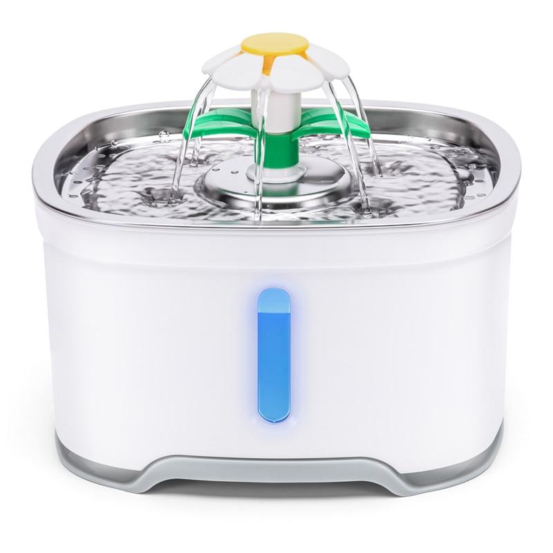 2.4L Автоматическая Pet фонтан воды кота с светодиодный электрический USB для кошки или Собаки Автоматическая Pet питьевой фонтанчик