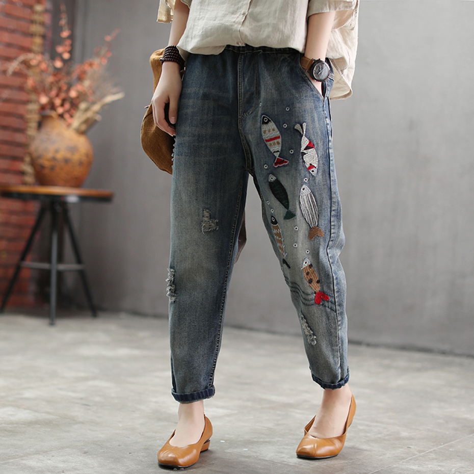 Women Jeans Denim Pants Bottoms Distressed Embroidery Fishes Retro Vintage Casual Long Big Loose For Spring Autumn AZ472232188