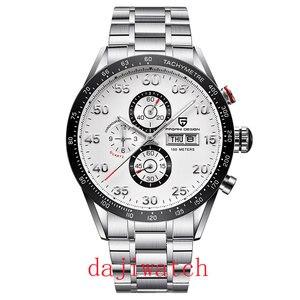 Pagani 42mm conception de luxe cadran noir multifonction Quartz chronographe tachymètre montre pour hommes