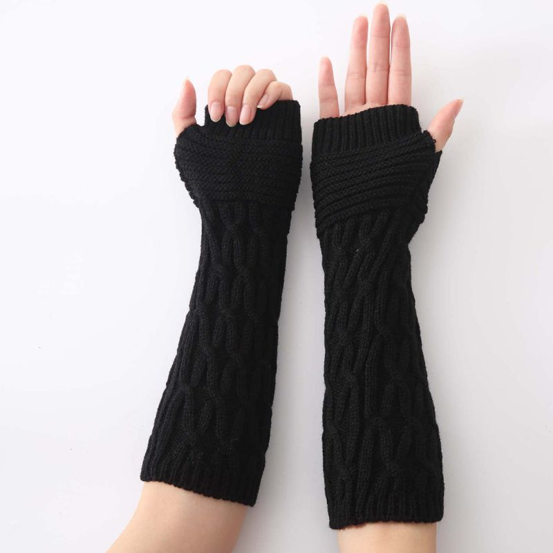 Women Mens Winter Chunky Crochet Fingerless Gloves Cross Stripes Knitted Arm Warmers Solid Color Elastic Mittens With Thumb Hole