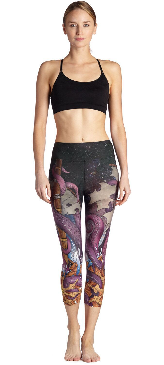 Coloured Octopus Slender S Breath And Sweat Absorbing Female Seven-point Lady Pants Leggings