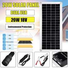 20W 18V Dual USB Portable Durable Solar Panel+Car Charger+Solar Control Flexible Waterproof Solar Cell For Battery Phone Charger