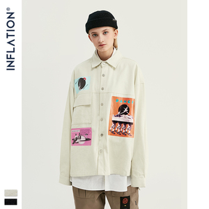 Image 3 - INFLATION DESIGN Oversized Fit Graphic Printing Men Shirt Black White Relaxed  Men Casual Shirt Streetwear Style 92154W