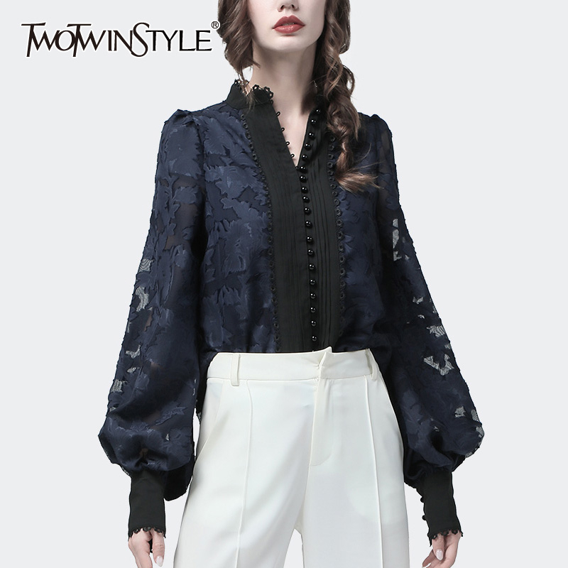 TWOTWINSTYLE Patchwork Lace Women's Shirts Lantern Long Sleeves Stand Collar Korean  Shirt Blouse Female 2019 Autumn Fashion New