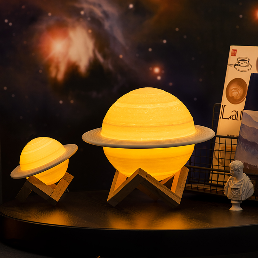 3D Print Saturn Lamp Touch Remote LED Night Light Decoration Lighting Moon Light USB Charging Planet Lamp For Children Kids Gift