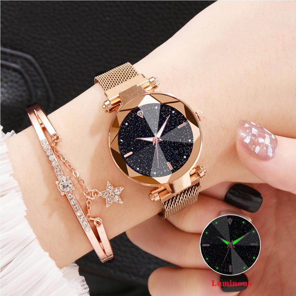 New Brand Women's Watches Luxury Quartz Wristwatches Magnetic Buckle Luminous Watch Stainless Steel Ladies Clock Female Watches