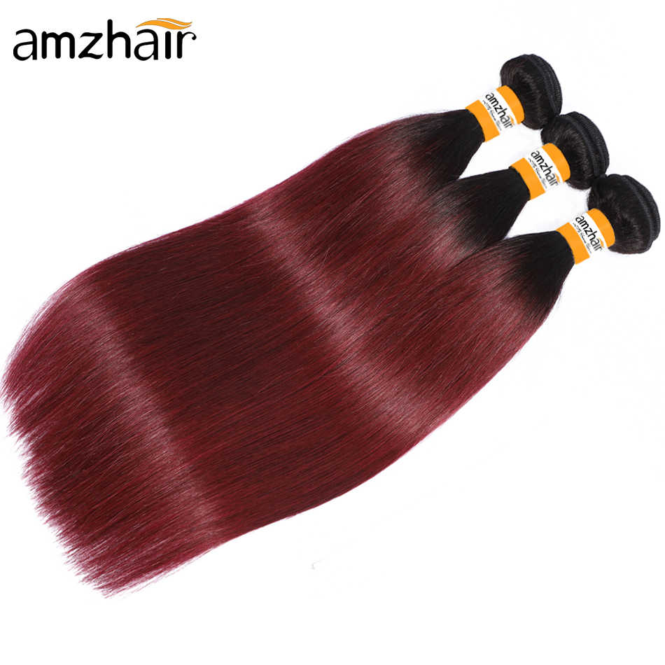 Extensiones de cabello humano liso 1B99J / 1B30/1B27, Color degradado, cabello brasileño, extensiones de cabello liso