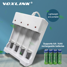 VOXLINK USB شاحن بطارية 4 فتحات مع كابل يو اس بي ل AA/AAA بطاريات قابلة للشحن شاحن ل ميكروفون التحكم عن بعد كاميرا