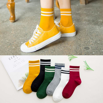 Funny Cute Japanese High School Girls Cotton Loose Striped Crew Socks Colorful Women Sox Harajuku Designer Retro Yellow White - discount item  39% OFF Women's Socks & Hosiery
