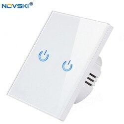 NOVSKI белый-базовый сенсорный выключатель, светильник, сенсорный выключатель переменного тока 100-240 В, кристальная стеклянная панель, светоди...