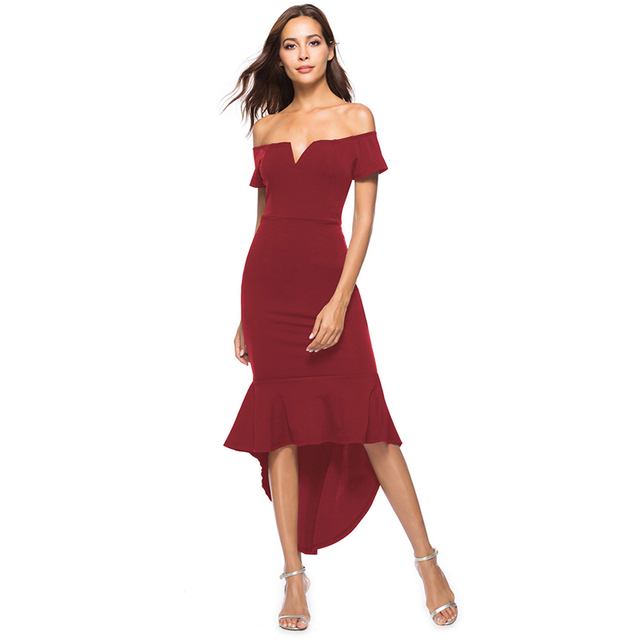 Women Dress V Neck Off Shoulder Short Sleeve Bodycon Draped Polyester Dress