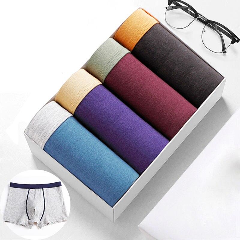 4pcs/lot 95%Cotton Male Panties Men's Underwear Boxers Breathable Man Boxer Solid Underpants Sexy Comfortable Shorts 5XL