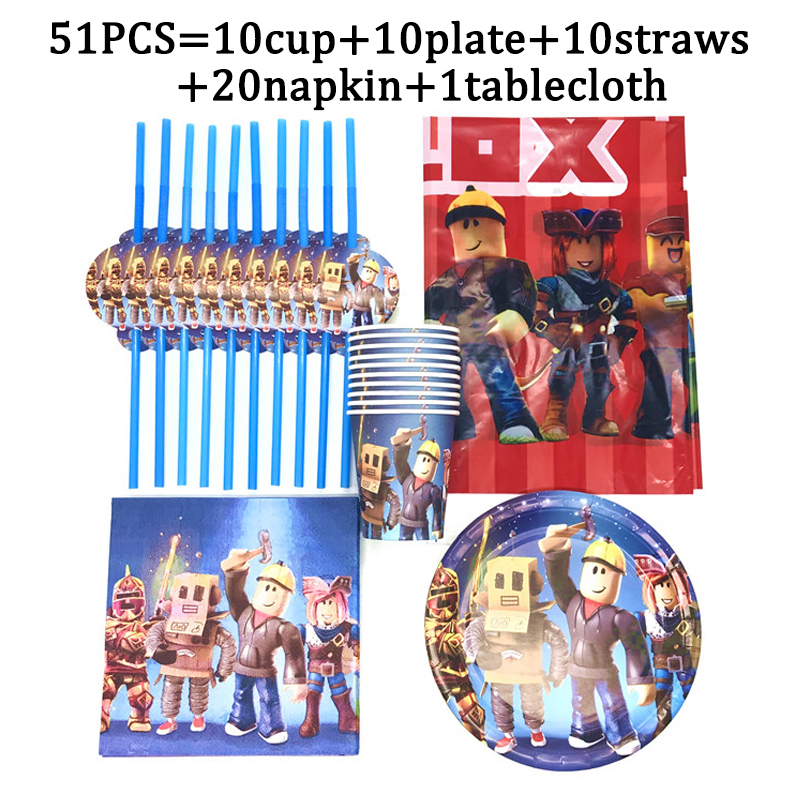 Gra motyw Roblo urodziny zestaw imprezowy dekoracje papierowy kubek i talerz słomki Nakpin dzieci chłopiec dzieci dzień zaopatrzenie firm obrus