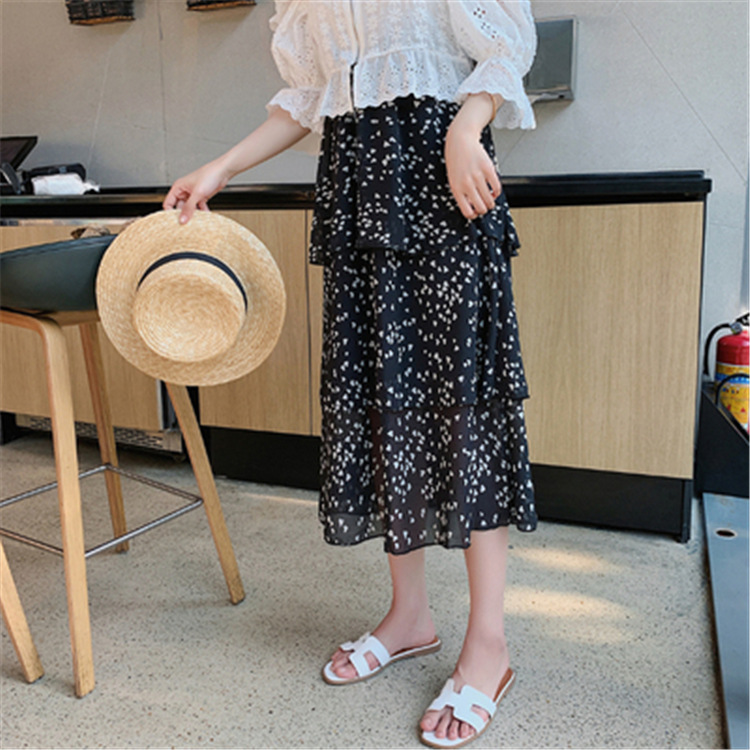 Small Floral Chiffon Cake Dress Skirt Women's Spring And Summer 2019 New Style Hipster Medium-length Very Fairy Of Skirt Immorta