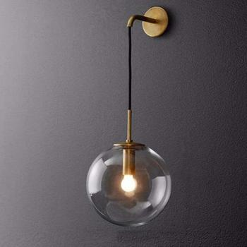 Nordic Modern Vintage LED Wall Lamp Glass Ball Bathroom Mirror Beside Lamps Indoor American Retro Wall Light Sconce Wandlamp iwhd glass ball vintage wall lamp industral retro iron wandlamp swing arm wall sconce bathroom fixture led wall light up down