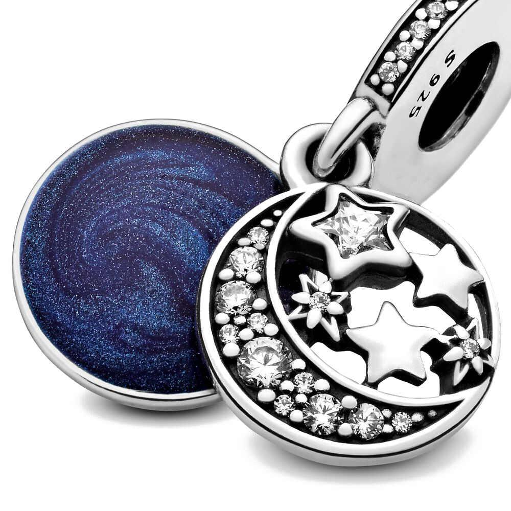 2020 新オリジナルブルー甘い夜の星空ビーズフィットパンドラチャームシルバー 925 ビーズブレスレット女性のための diy ファッションジュエリー