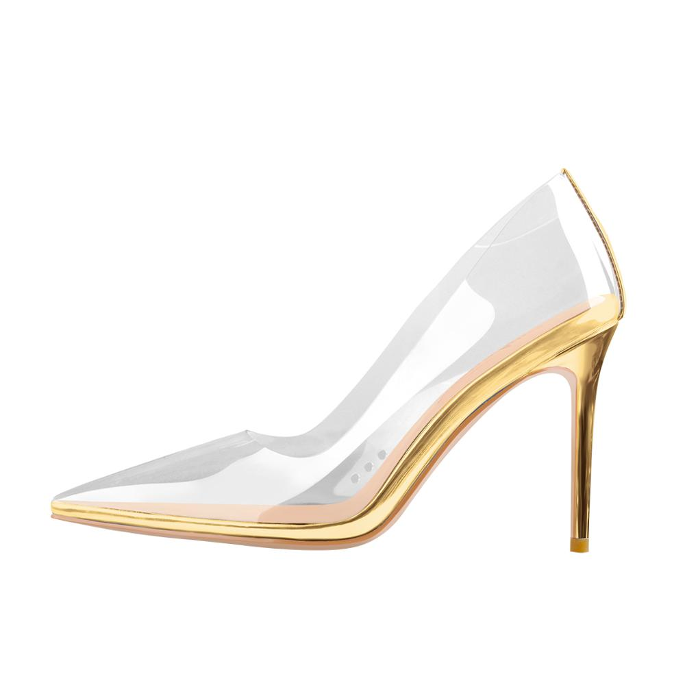 Yolkomo Clear Pointed Toe Slip On High <font><b>Heel</b></font> Stiletto Pumps Silver Gold Pumps For Women Big <font><b>Size</b></font> Pumps for Men Women <font><b>Size</b></font> US <font><b>15</b></font> image