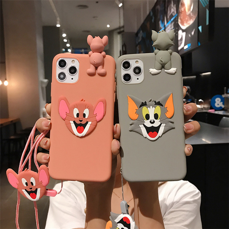 Funny 3D Cute Cat Case For iPhone 11 Pro Max 7 6 6s 8 Plus Soft TPU Phone Case For iPhone XR X Xs Max Doll Strap Lanyard Covers
