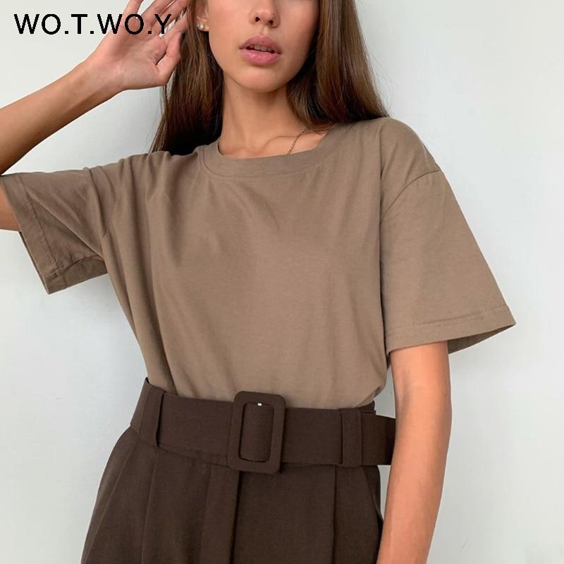 WOTWOY Summer Loose Basic Tee Shirt Women Knitted Cotton Solid T-Shirt Women O-Neck Casual Korean Tops Female Harajuku 2020 New