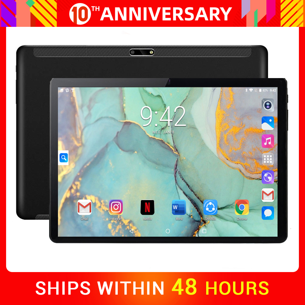 DHL Free Shipping Tempered Glass 10 Inch Tablet  Android 7.0 MTK Phone Call Wifi GPS 2GB+32GB Media Touch Tablet 10.1 PC Gift
