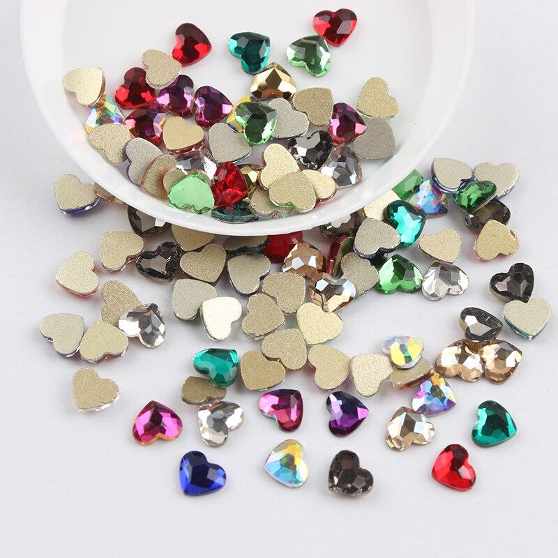 Все смешанные цвета, 30 шт, стразы для дизайна ногтей, сделай сам, без горячей фиксации, стеклянные камни для ногтей, драгоценные камни для 3D украшения для ногтей - Цвет: 5.5x6mm Heart