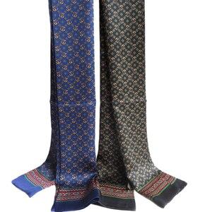Image 1 - גברים אלגנטיים 100% טהור משי ארוך צעיף שכבה כפולה הדפסת Neckechief שחור אדום כחול אור חום