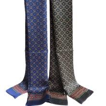 Elegante Mannen 100% Pure Zijde Lange Sjaal Dubbele Laag Afdrukken Neckechief Zwart Rood Blauw Licht Bruin