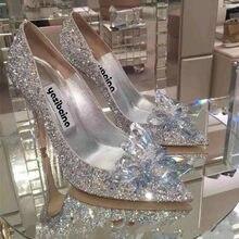 Chaussures de mariage style cendrillon avec cristaux pour femmes, escarpins de mariée à talons hauts et bouts pointus, serties de faux diamants, couleur argent, sexy, nouvelle collection