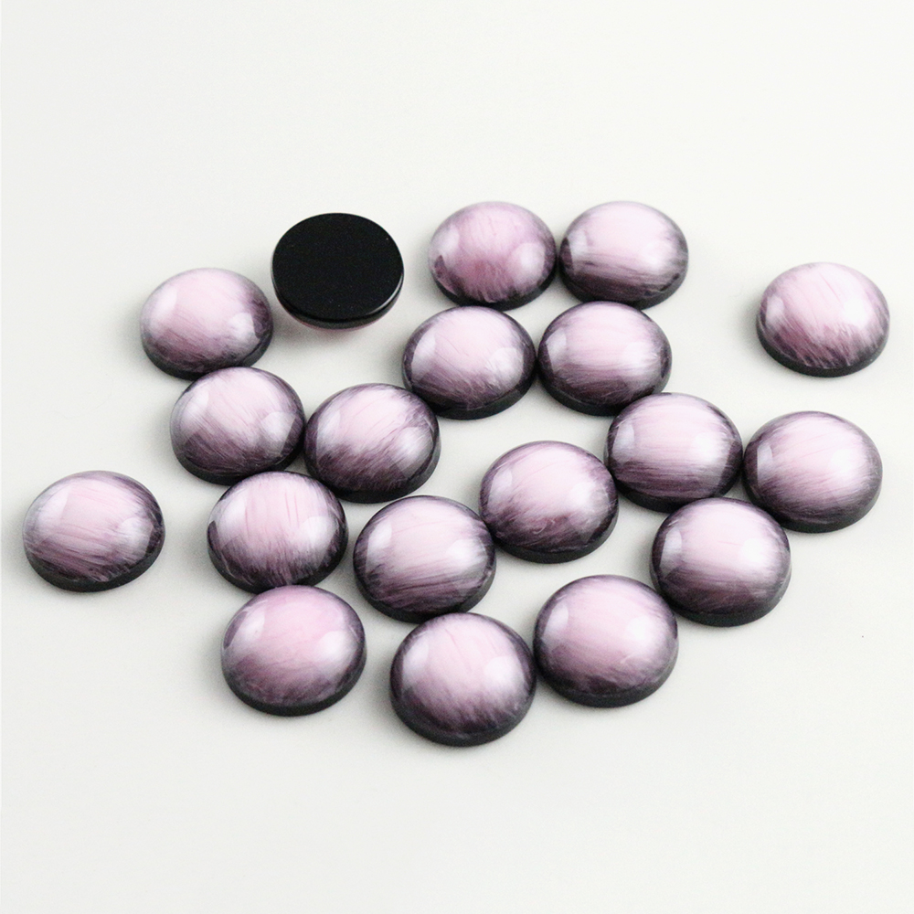 New Fashion 40pcs 12mm Pink Colors Stylish Brushed Style Flat Back Resin Cabochons Cameo-V5-02