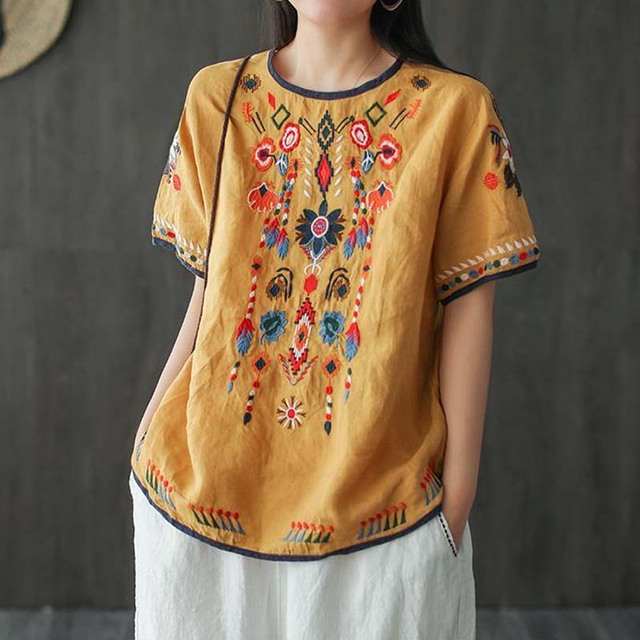 New Embroidered Tshirt Cotton And Hemp Top Women's Summer Korean Version Short Sleeve Literature And Art Leisure Pullover Shirts 3