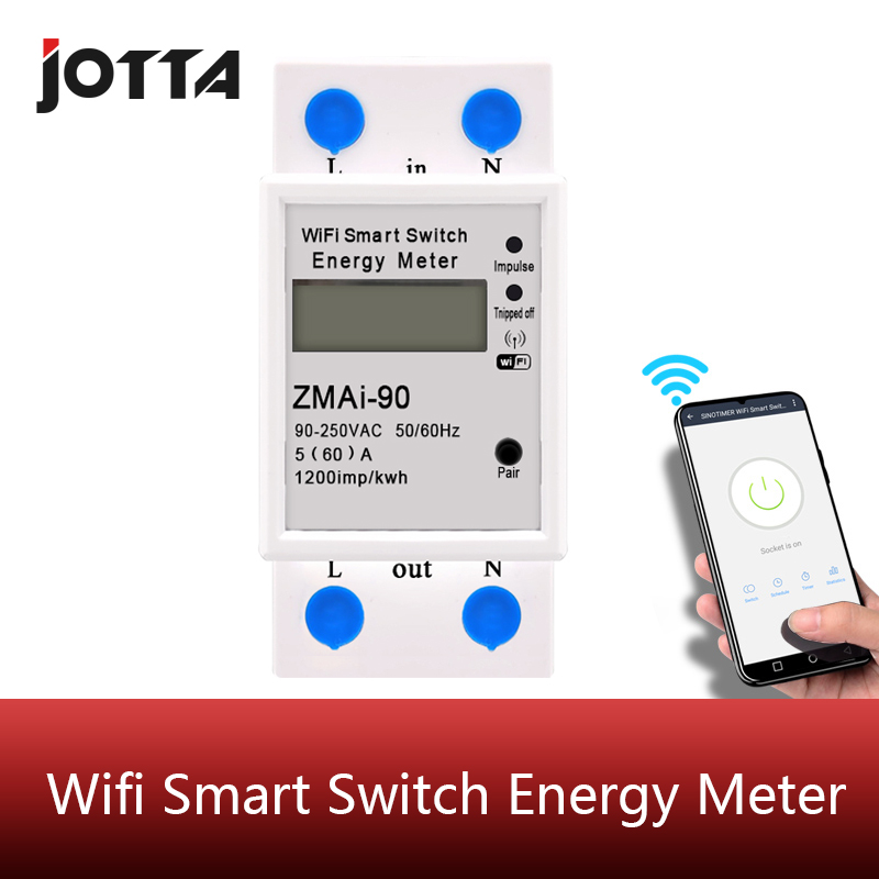 Digital Electric Consumption kWh Din Rail Smart Energy Meter WiFi Power Meter Watt Remote Switch Control Monitor 110V 220V AC image