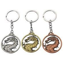 New 3 Colors Fashion Vintage Charm Game Mortal Kombat Keychain Dragon Totem Alloy Key Ring Holder Gift for Men Car Keychains