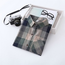 Fashion Long Sleeve Plaid Blouse New Buttons Striped Women Shirt Autumn Spring Loose