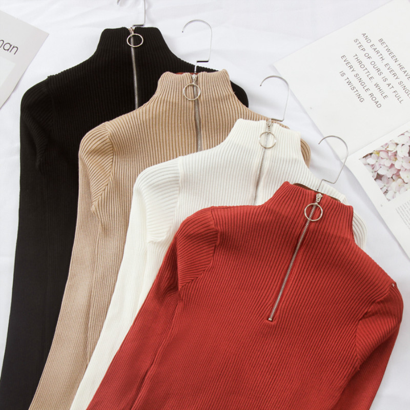 Retro Chic Half-high Collar Simple Inside Sweater 2018 New Winter Women Long Sleeve Half Zipper Fashion Sweater